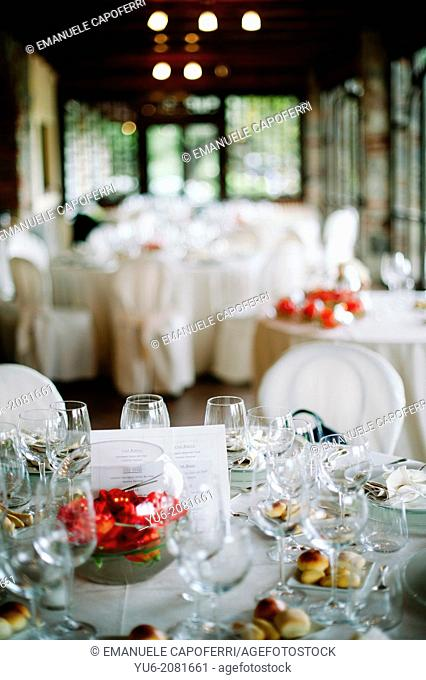 Table decorated for wedding dinner
