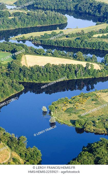 France, Vendee, Bournezeau, Vouraie river water reservoir (aerial view)