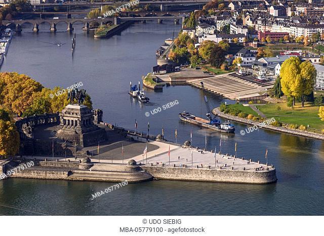 Germany, Rhineland-Palatinate, upper Middle Rhine Valley, Koblenz, the Rhine, Moselle mouth, Deutsches Eck, view from Ehrenbreitstein Fortress