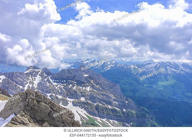 On the peak of Säntis Mountain, Appenzell Alps, Switzerland - view of the surrounding landscape. Auf dem Säntis in den Appenzeller Alpen