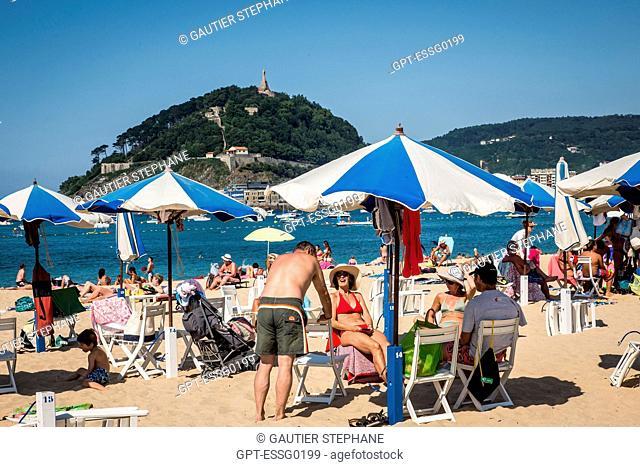 ONDARRETA BEACH, LA CONCHA BAY, SAN SEBASTIAN, DONOSTIA, BASQUE COUNTRY, SPAIN
