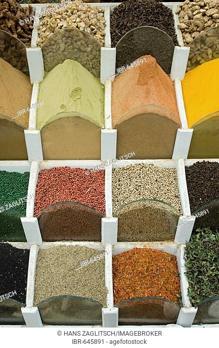 Different spices, Sharia as-Souq, Bazar, Aswan or Assuan, Nile Valley, Egypt, Africa