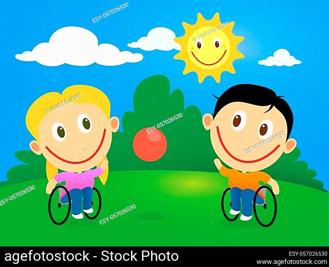 Handicapped happy children in wheelchair playing with a ball in a sunny day