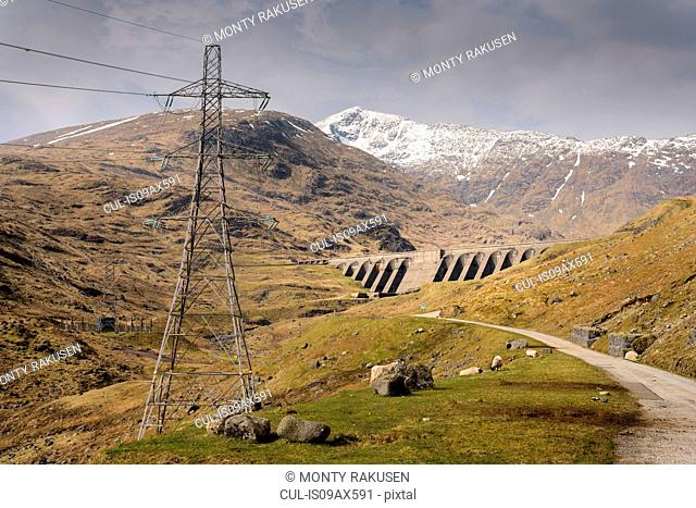View of Cruachan hydroelectric power station dam in Scotland