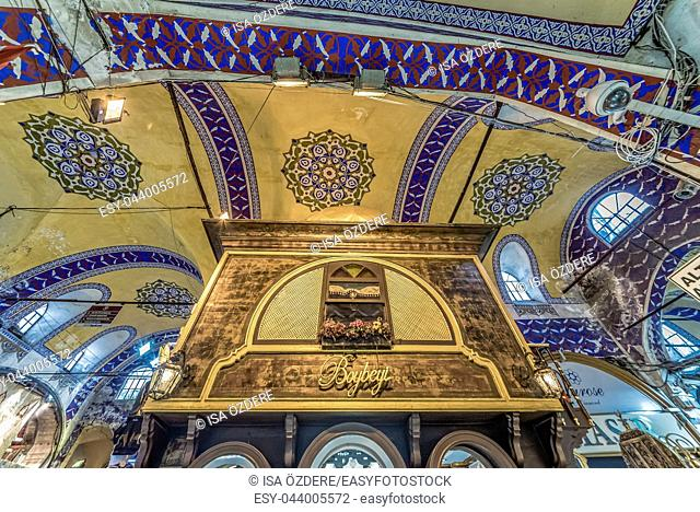Interior view of Grand Bazaar for shopping,Interior of the Grand Bazaar with souvenirs in Istanbul, Turkey. April 17, 2017
