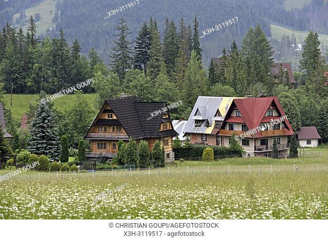 maisons de style Zakopane dans la campagne autour de Zakopane, region Podhale, Massif des Tatras, Province Malopolska (Petite Pologne), Pologne