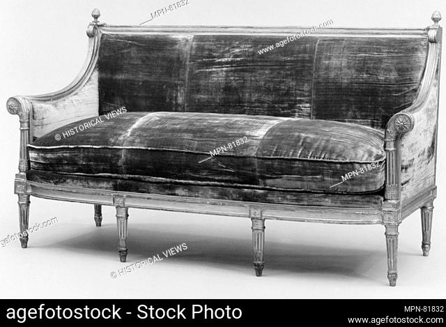 Sofa. Date: ca. 1785; Culture: French; Medium: Carved and gilded beechwood; Dimensions: Overall: 36 1/4 x 71 1/4 x 24 1/4 in. (92.1 x 181 x 61