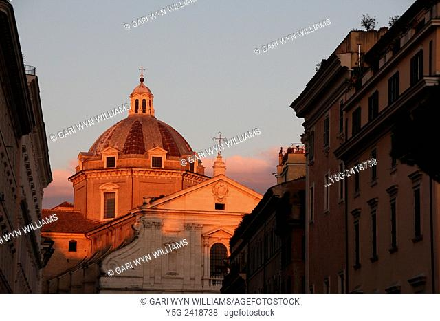 Chiesa del gesu church at sunset in rome italy