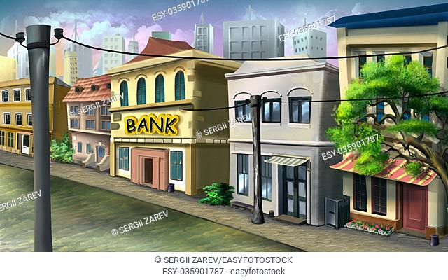 Digital painting of the small bank on the city street with houses and trees