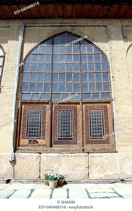 Window of palace in fortress Arg-e Karim Khan in Shiraz, Iran