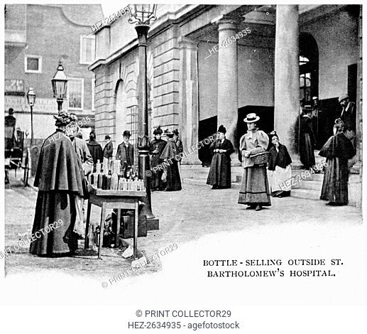 Bottle selling outside St Bartholomew's Hospital, London, c1903 (1903). Artist: Unknown