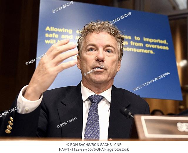 United States Senator Rand Paul (Republican of Kentucky) questions Alex M. Azar II as he testifies before the US Senate Committee on Health, Education