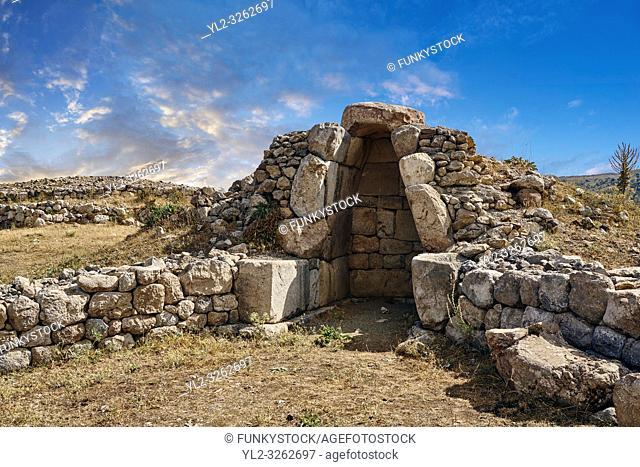 Ruins of a chamber, Hattusa (also Ḫattuša or Hattusas) late Anatolian Bronze Age capital of the Hittite Empire. Hittite archaeological site and ruins
