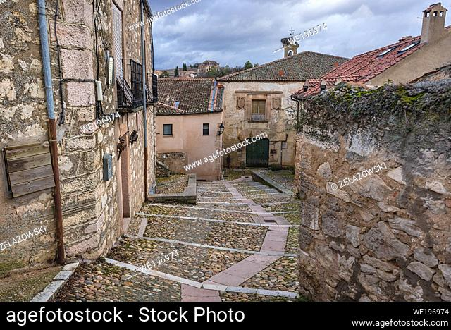 Houses in Sepulveda town in Province of Segovia, Castile and Leon autonomous community in Spain