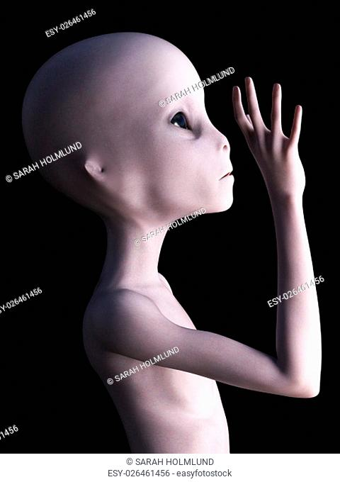 Side view of an alien holding its hand up like it's waving. 3D rendering. Black background