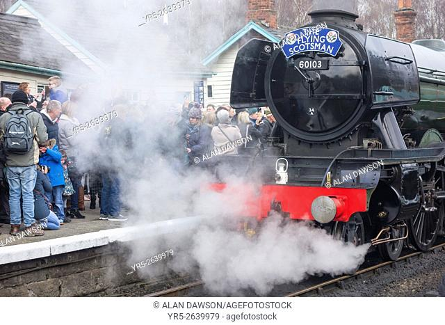 Grosmont, North Yorkshire, England, UK, 12th March 2016. Following a £4. 2 million overhaul, The Flying Scotsman train visits the North Yorkshire Moors Railway...