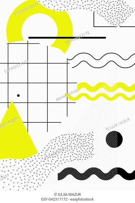 Universal trend poster with bright bold geometric yellow elements, chaotic composition in restrained sustained tempered style