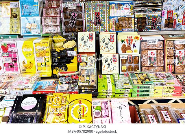 Sweets, display in a shop, Senso-ji Temple, Asakusa, Tokyo, Kanto region, Honshu, Japan