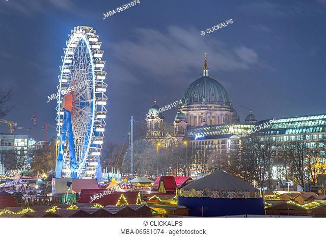 The Berliner Dom and Ferris wheel in Alexanderplatz - Berlin - Germany - Europe