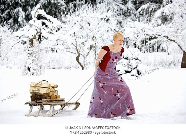 Young Woman in Wedding Dress Pulling Wooden Sledge with Firewoods