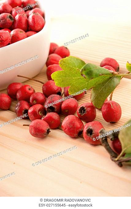 Hawthorn berries in the white bowl on the wooden table