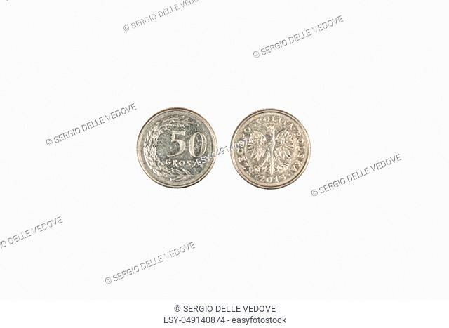 a front and back coin of 50 groszy of Polish Zloty
