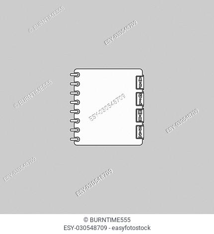 Organizer Simple line vector button. Thin line illustration icon. White outline symbol on grey background