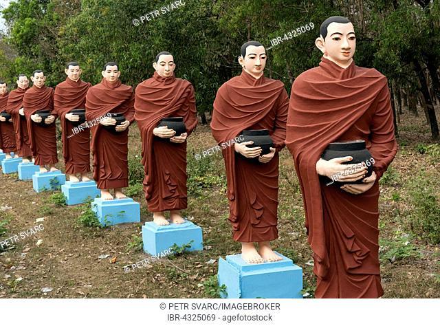Row of statues of the 500 Arahant followers of Buddha at Win Sein Taw Ya, Mudon near Mawlamyine, Mon State, Myanmar
