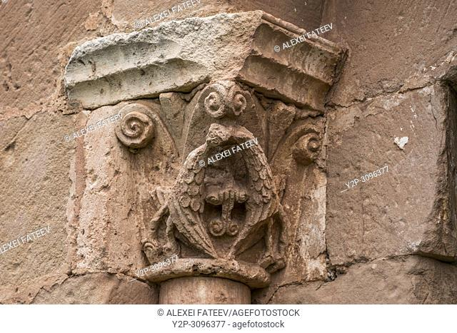 Capital with birds of the window in westernmost section of nave of Romanesque church San Andrés (12th century) in Soto de Bureba, province Burgos
