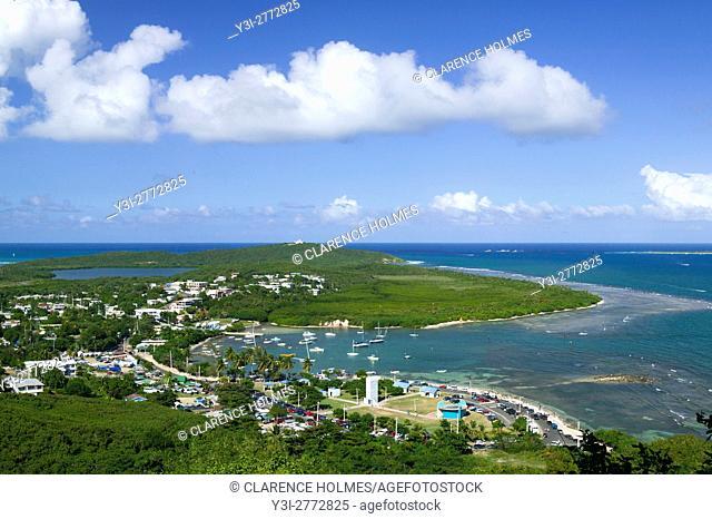 View looking north toward the Las Cabezas de San Juan Nature Reserve from Fajardo, Puerto Rico