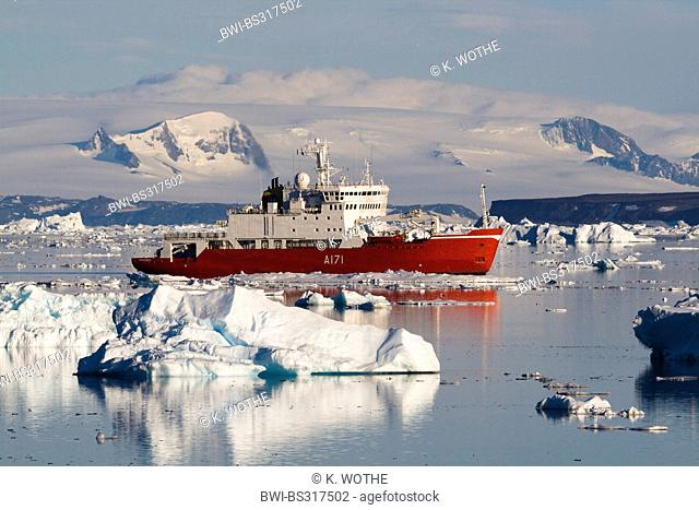 cruiseship on the Weddell Sea among icebergs, Antarctica
