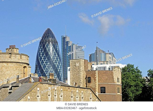 London, The Gherkin, view of the Tower of London, England