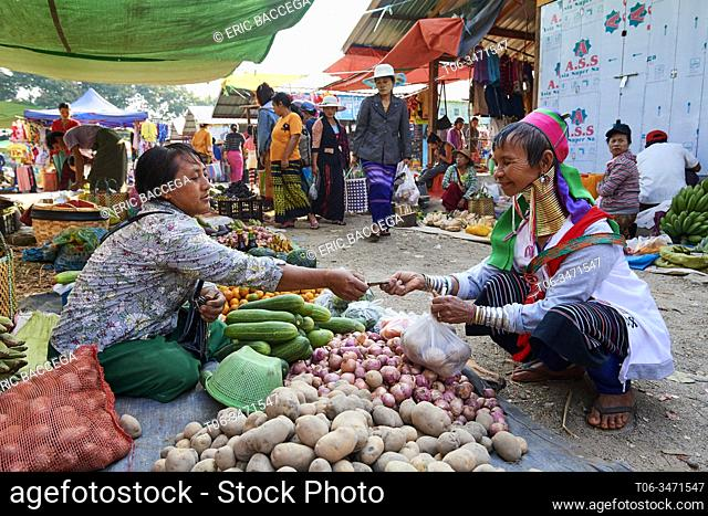 Kayan Lahwi woman with brass neck coils and traditional clothing buying potatoes at the market. The Long Neck Kayan (also called Padaung in Burmese) are a...