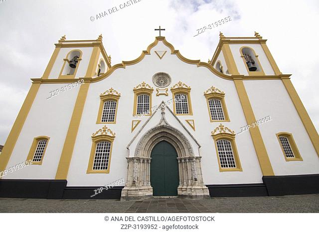 Traditional Azores church of Santa Cruz. Praia da Vitoria in Terceira island on January 9, 2017 Portugal