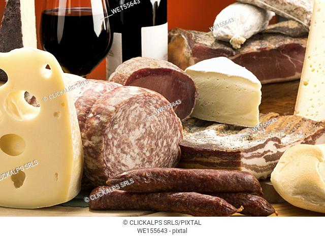 Still life, mixed salami, Mixed cheeses, typical products, red wine, Salami and cheeses, Trentino, AltoAdige, Dolomites, food,