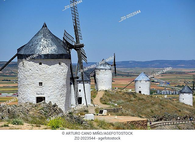 Windmills, Consuegra, Toledo province, Castile-La Mancha, Spain