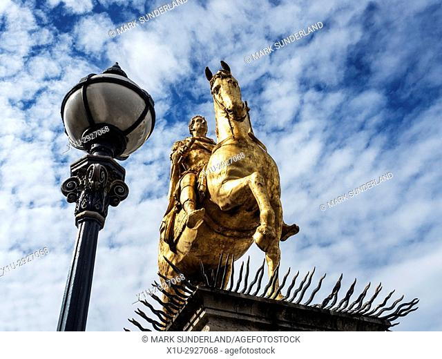 Gilded Horseback King William Statue in Market Place Hull Yorkshire England