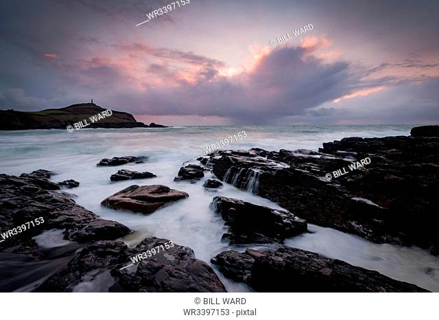 Cape Cornwall, as seen from Kenidjack Valley at sunset with stormy sky, Cornwall, England, United Kingdom, Europe