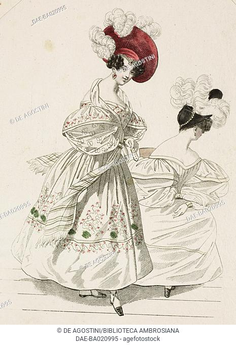Woman wearing a light-coloured dress with puffed sleeves, floral decorations on the skirt and a red hat adorned with white feathers and a woman wearing a...
