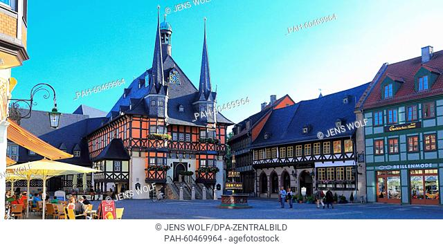 A view of the historiocal townhouse in Wernigerode, Germany, taken on 30 July 2015. The picturesque town hall was rebuilt between 1492 to 1498 to its current...