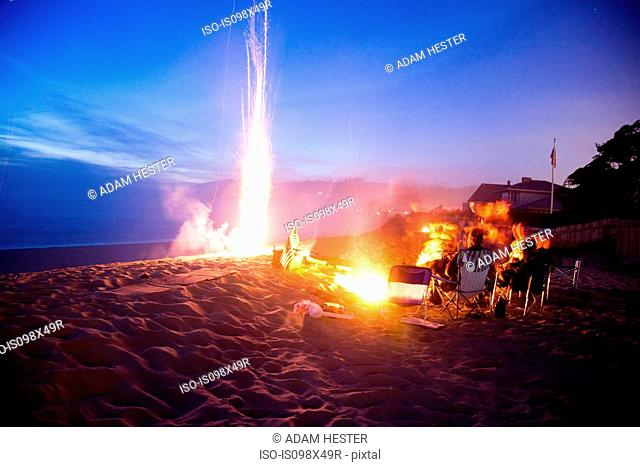 People on beach with bonfire and fireworks at night