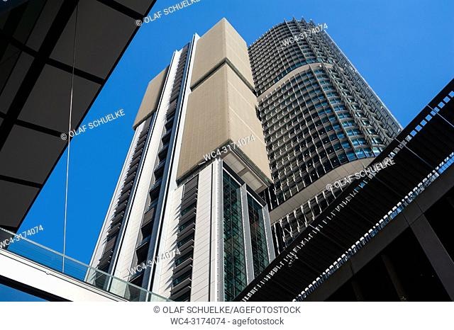 Sydney, New South Wales, Australia - A view of the modern International Towers office buildings in Barangaroo South facing Darling Harbour