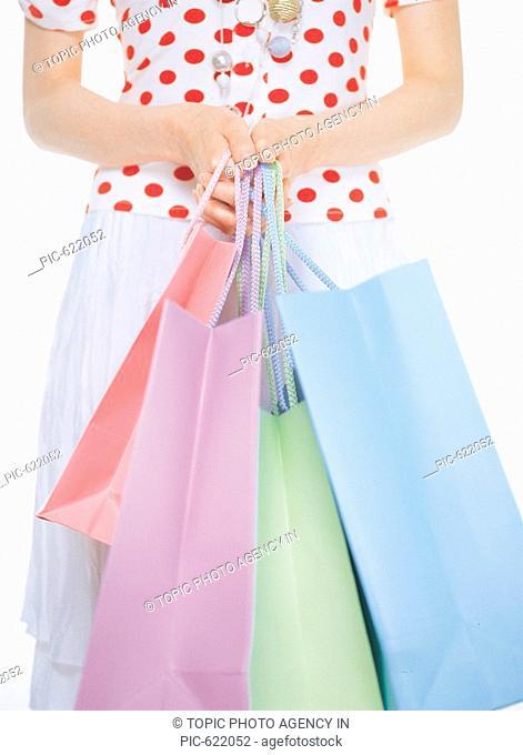 Woman Carrying Shopping Bags, Korea