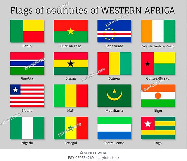 Western Africa countries flag set. National symbol of state, sovereignty and identity official element. Flat style vector illustration on gray background