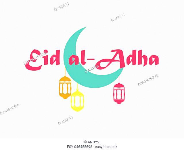 Eid al-Adha. Crescent with hanging lantern. Kurban Bajram muslim festival of sacrifice. Ramadan Kareem. Holiday greeting card. Vector illustration