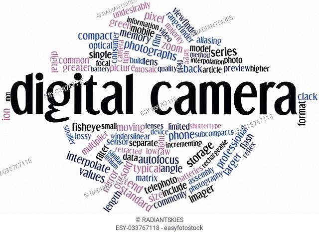 Abstract word cloud for Digital camera with related tags and terms
