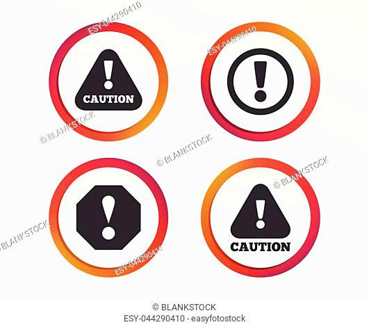 Attention caution icons. Hazard warning symbols. Exclamation sign. Infographic design buttons. Circle templates. Vector