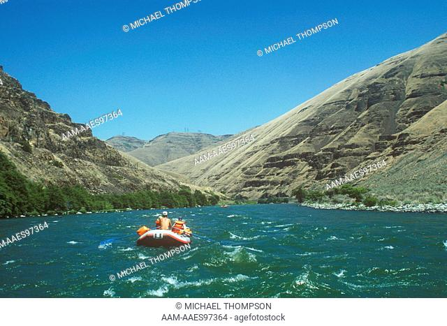 Deschutes River Rafts head into White Water Rapids in River Canyon, July, OR