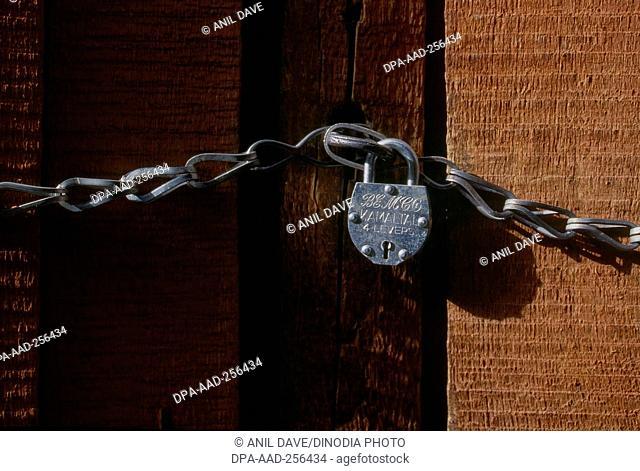 Door and rust lock, bharmour temple, himachal pradesh, india, asia
