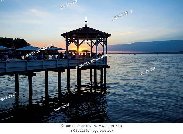 Pavilion with a bar on Lake Constance at sunset, Bregenz, Vorarlberg, Austria